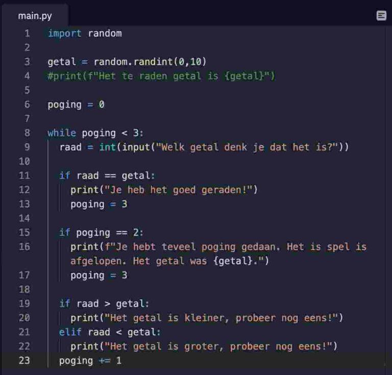 Python Essentials Code voorbeeld