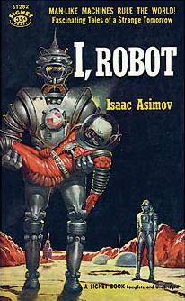 I Robot boek met regelgeving voor robots.